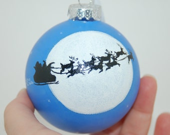 "Hand Painted ""Twas the Night Before Christmas"" Santa and his sleigh with Reindeer Glass Christmas Ornament"