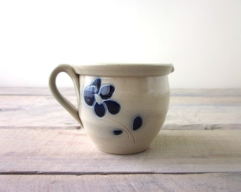 Vintage Pottery Creamer Stoneware with Blue Flower