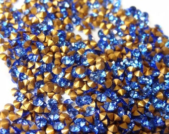 1,000 Vintage Swarovski Sapphire Rhinestone ss7 pp15 2.20mm Tiny Rhinestones for Repair Crafts Jewelry RS53