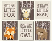 Woodland Wall Art, Carters Forest Friends, Kids Wall Art, Baby Boy, Bear, Stay Clever Fox, Grow Wise Little Owl, Set of 6, Prints or Canvas