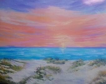 30 x 40 large Modern Impressionist Kiawah Island Beach Sunset Original Oil landscape by Rebecca Croft