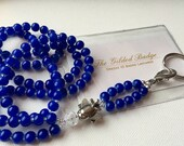 Royal Blue Pearl and Silver Airplane ID Badge Lanyard great for Flight Attendant and Gate Agent