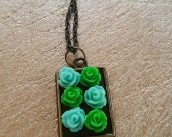Mini Bouquet Necklace in Aqua and Green
