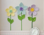 fabric wall flower. 3d mint wall flower. wall decor for nursery or girls room