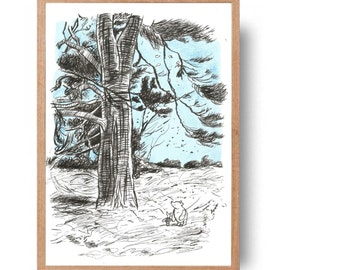 pooh and piglet in hundred acre wood -  hand drawn pooh art illustration//nursery//childs room decor