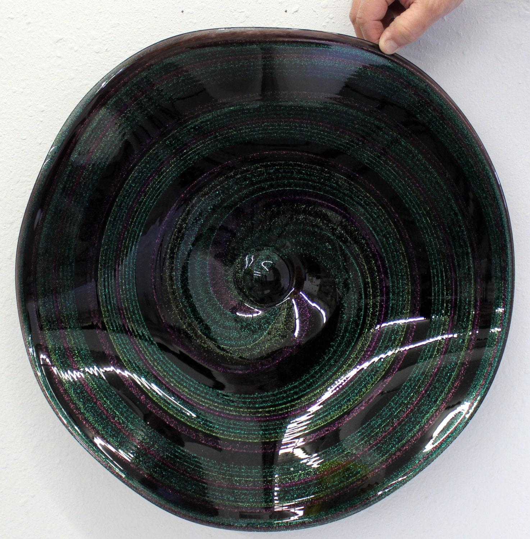 beautiful hand blown glass art wall platter bowl 6882 dichroic. Black Bedroom Furniture Sets. Home Design Ideas