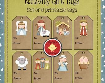 Printable Nativity Gift Tags