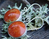 Orange Fossilized Apple Coral and Silver Handmade Earrings
