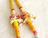 Folk Art, Musical Sticks, Hand Painted, Bells, India, Noise Makers, Painted Sticks, Primitive Instruments, Musical, Yellow, Figural