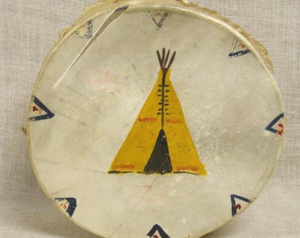 Vintage Handmade Hide Drum, Native American Style, Percussion, Musical Instrument, Music, Musical, Native Drum, Primitive, Childs Drums