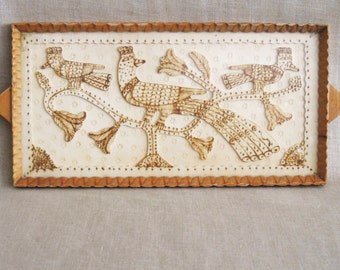 Vintage Folk Art Serving Tray, Wooden, Pyrography, Birds, Hand Carved, Handmade, Rustic, Garden Motif, Vanity Tray, Cocktail Tray, Kitchen