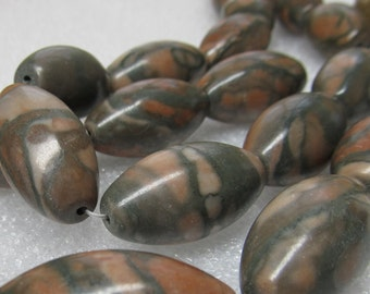 Marble Beads 30 X 20mm Natural Hand Carved Oblong Pink & Gray Melons - 6 Pieces