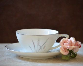 Tea Cup and Saucer/Platinum Wheat by Max Schonfeld Fine China of Japan/Tan Gray Wheat Design Tea Cup and Saucer Set/Flat Bottom Tea Cup/50s