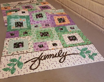 """Delightful Quilt Kit Featuring Family Table Runner Pattern and Camelot Fabrics' Make A Wish Collection, 18.5"""" x 55"""""""