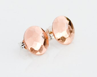 Rose Gold Hammered Stud Earrings - Everyday Earing - Simple Faceted Circle Studs - Small Modern Sparkly Cocktail Jewelry by Hook And Matter