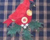 Winter Cardinal Christmas Applique PDF Pattern for Tea Towel