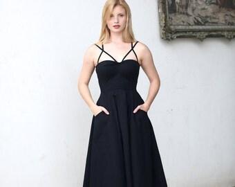 Black Cage strap dress / Tea length evening dress