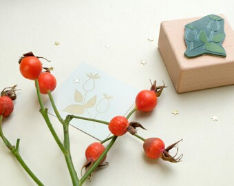 Christmas Rubber Stamp »Rose Hip« | Gift Tag Stamp | Christmas Stamp | Holidays Stamp |STUDIO KARAMELO
