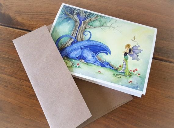Fantasy Art Note Card Blue has been a Bad Dragon fairy.
