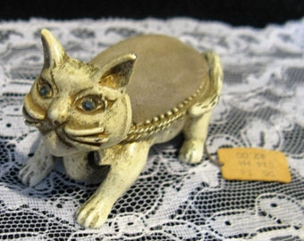Vintage Florenza Cat Nodder Pin Cushion, NWT, Original Tag, Gray Velvet