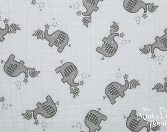 Double Gauze Cotton Embrace - Elephants/Silver