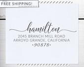 Custom Address Stamp, Return Address Stamp, Boho Wedding address stamp, Calligraphy Address Stamp, Self inking or Eco Mount stamp - Hamilton