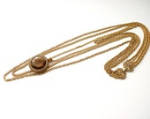 Goldette New York 4-Strand Gold Chain Necklace with Faceted Topaz Glass 18 to 32 Inches