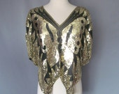 Vintage 1970s 1980s Black and Gold Sequin Butterfly Dolman Top Blouse Size Small Medium