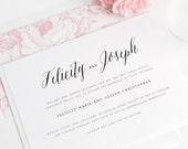 Rustic Romance Wedding Invitation - Floral Wedding Invitation - Script, Romantic, Petal, Pink - Calligraphy Wedding Invite - Sample Set