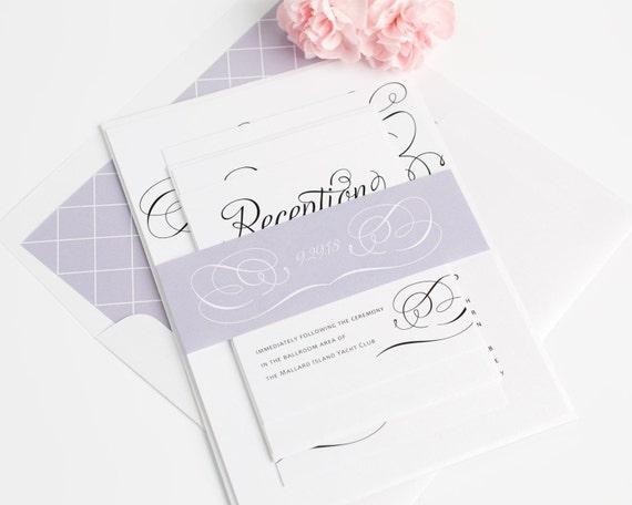 Charming Script Wedding Invitation Design - Elegant Wedding Invitations - Purple, Lavender, Diamond Pattern - Script, Fairytale - Sample Set