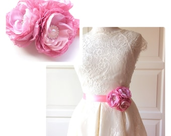 Romantic  Bridal Tafetta  Belt Flower Sash for Wedding