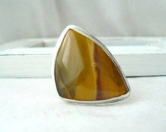 Sterling silver and Yellow Mookaite Ooak Ring - jewelry cabochon gemstone 925 - Size 8.5 - READY TO SHIP