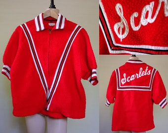 Vintage 50s Tri-Tone Team Jersey Track Sports Jacket Rockabilly