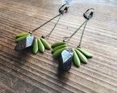 Jade and Tiger iron Semi Hoop Fringe Earrings Handmade in Indiana Southwest Earrings Green Gemstone Jade Gemstone Earrings by Rana Salame
