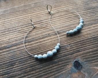 Howlite Gemstone Silver Hoop Earrings White Gemstone Earth Gemstone Jewelry Handmade in Indiana By Rana Salame Jewelry Gemstone Hoop Earring