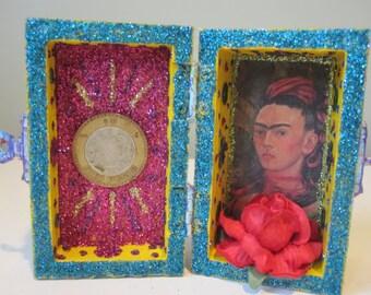 Frida Kahlo mini nicho, shrine, altar, spirit house, folk art