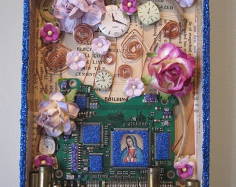 Mixed media assemblage, 3D collage, found object art, shadow box