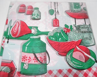 Vintage Plastic Tablecloth in Unopened Original Package, Carnation Picnic Cloth, NOS 1970's 54 x 72