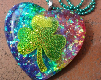 Opalescent Rainbow & Holographic Shamrock Resin Heart Pendant, Lucky Charm Shamrock Necklace, Big Opal Heart Glitter Fusion Resin Pendant