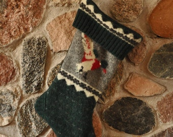 Christmas Stocking, Upcycled Wool Christmas Stocking, Recycled Wool Christmas Stocking, Wool Christmas Stocking, Made in Wisconsin