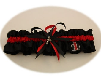 Case IH Colors-Black and Red Wedding Garter with Tractor Charms