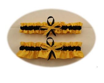 Gold and Black Wedding Garter, Bridal Garter  (Your Choice, Single or Set)