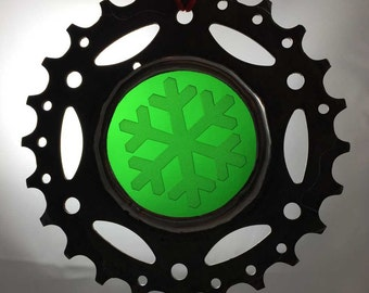 Upcycled bicycle cog and stained glass Christmas ornament