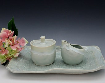 Porcelain Tableware Sugar and Creamer Set with Tray  in Snowcap Aqua Celadon