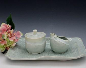 Sugar and Creamer Set with Tray Porcelain Tableware in Snowcap Aqua Celadon