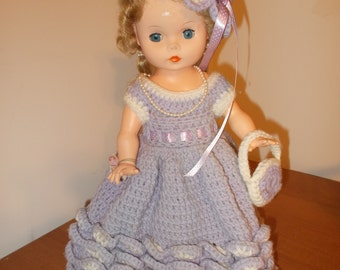 Vintage Doll wearing Hand Made Crochet Dress and Hat Lavender White