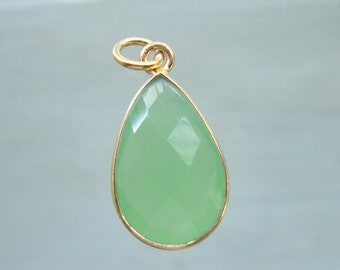 Prehnite Chalcedony Bezel Set Pear Teardrop Gold Vermeil pendant, Checker Board cut Prehnite Green Gold Pendant, 23x11mm
