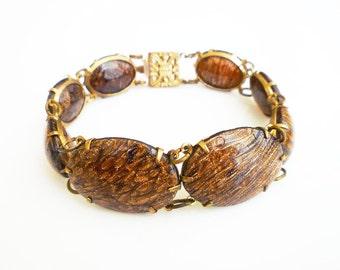 Vintage Bracelet, Art Glass, Goldstone Sunstone, Gold Tone, Boho Chic, Vintage Jewelry