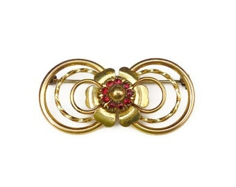 Victorian Brooch, LS Co Brooch, Louis Stern, Gold Filled, 1/20 12K, Red Rhinestone, Vintage Brooch, Vintage Jewelry