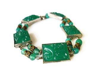 Art Deco Bracelet, Czechoslovakia, Czech Jewelry, Green Chrysoprase, Silver Brass Metal, Antique Jewelry
